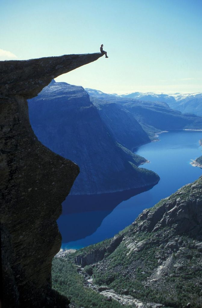 Hanging out on Trolltunga Rock in Norway